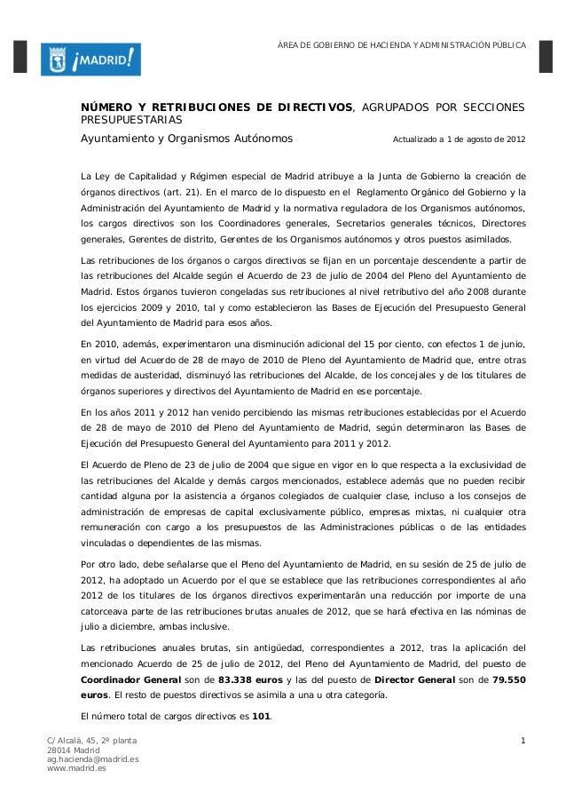 ÁREA DE GOBIERNO DE HACIENDA Y ADMINISTRACIÓN PÚBLICA        NÚMERO Y RETRIBUCIONES DE DIRECTIVOS, AGRUPADOS POR SECCIONES...