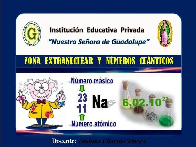 Docente: Giuliana Churano Tinoco ZONA EXTRANUCLEAR Y NÚMEROS CUÁNTICOS