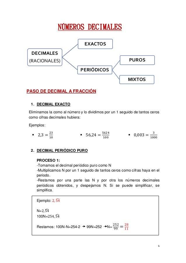 1 NÚMEROS DECIMALES PASO DE DECIMAL A FRACCIÓN 1. DECIMAL EXACTO Eliminamos la como al número y lo dividimos por un 1 segu...