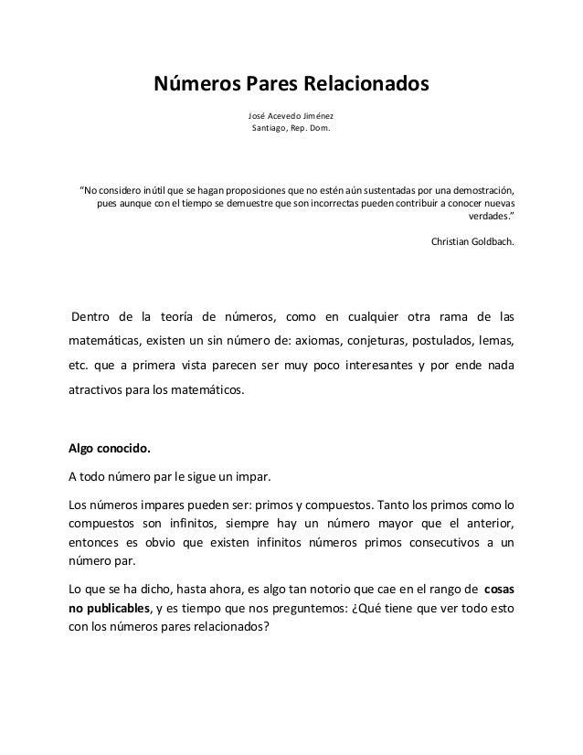 Números Pares Relacionados                                        José Acevedo Jiménez                                    ...