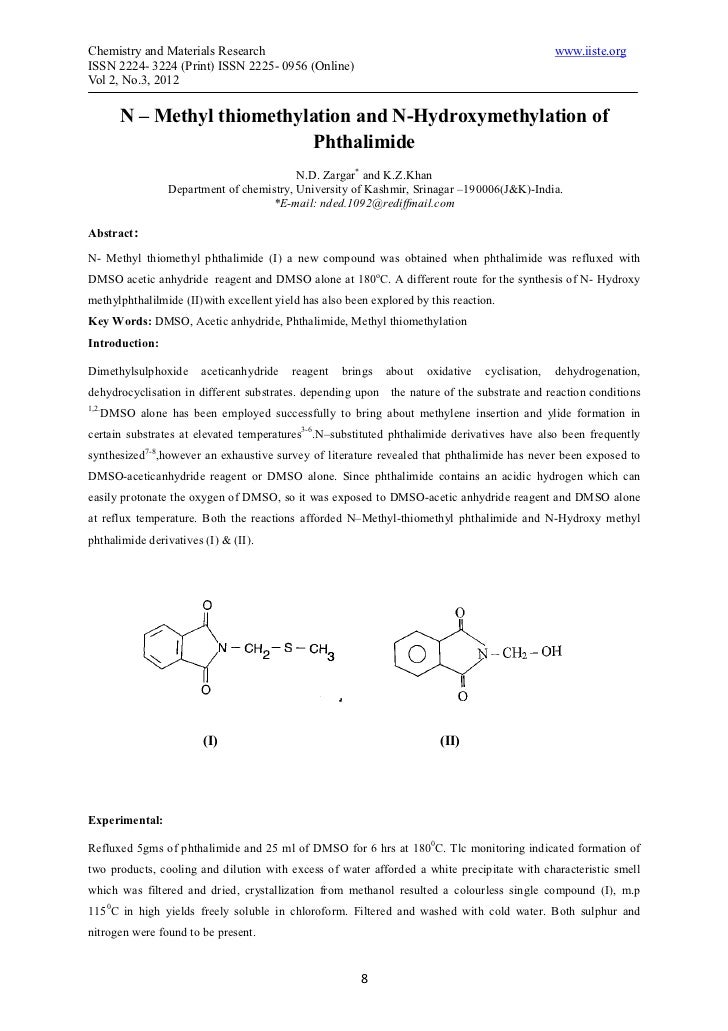 N – methyl thiomethylation and n hydroxymethylation of phthalimide