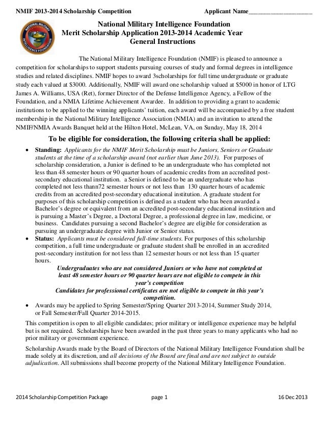 NMIF 2013-2014 Scholarship Competition  Applicant Name____________________  National Military Intelligence Foundation Meri...