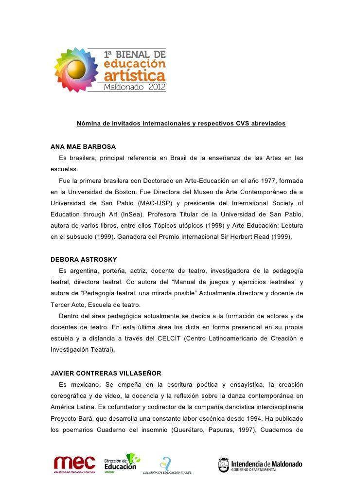 1°BIENAL DE EDUCACIÓN ARTÍSTICA-Maldonado 2012- Nómina de invitados internacionales