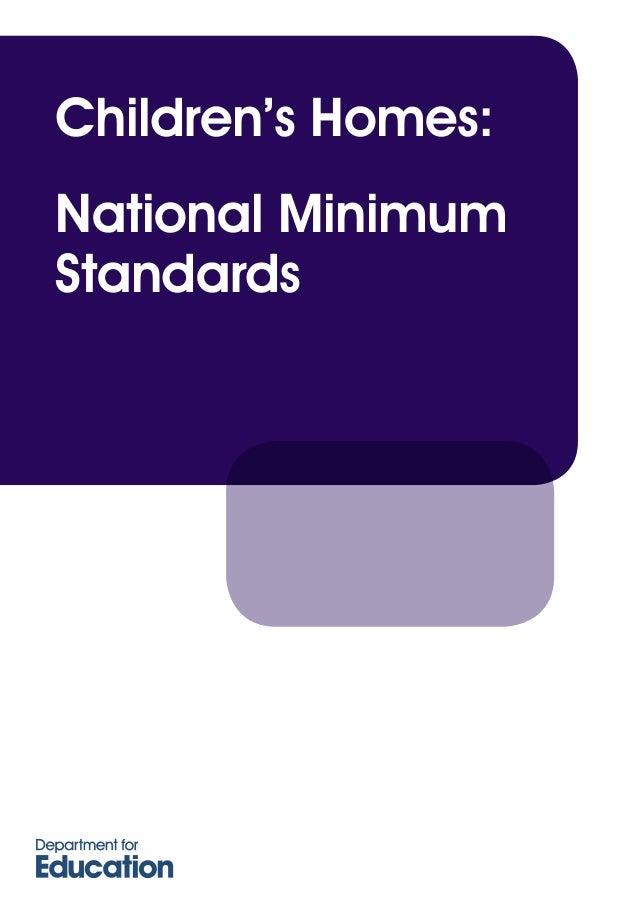 National Minimum Standards Children's Homes England