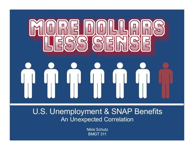 U.S. Unemployment & SNAP Benefits Nikki Schutz BMGT 311 An Unexpected Correlation