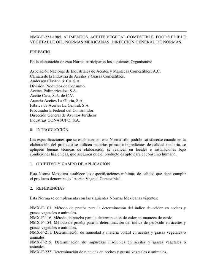 RECOPILADO POR:                  EL PROGRAMA UNIVERSITARIO DE ALIMENTOSNMX-F-223-1985. ALIMENTOS. ACEITE VEGETAL COMESTIBL...