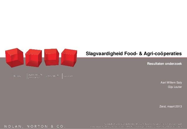 Slagvaardigheid Food- & Agri-coöperaties                         Resultaten onderzoek                                Aart ...