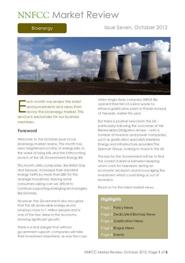 NNFCC market review bioenergy issue seven october 2012