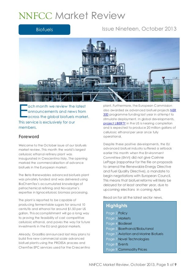 Nnfcc market review biofuels issue nineteen october 2013