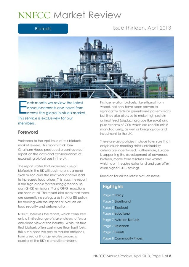 Nnfcc market review biofuels issue thirteen april 2013