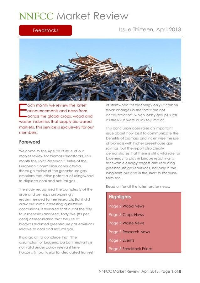 NNFCC Market Review Feedstocks issue thirteen april 2013