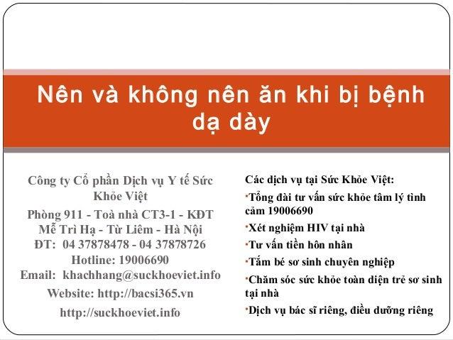 Nên và không nên ăn khi bị bệnh dạ dày Công ty Cổ phần Dịch vụ Y tế Sức Khỏe Việt Phòng 911 - Toà nhà CT3-1 - KĐT Mễ Trì H...