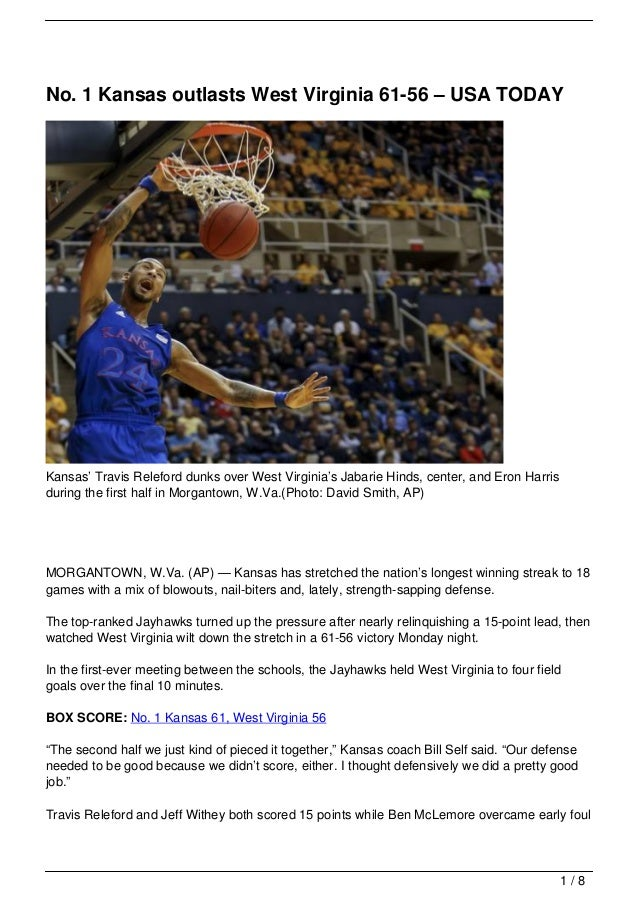 No. 1 Kansas outlasts West Virginia 61-56 – USA TODAYKansas' Travis Releford dunks over West Virginia's Jabarie Hinds, cen...