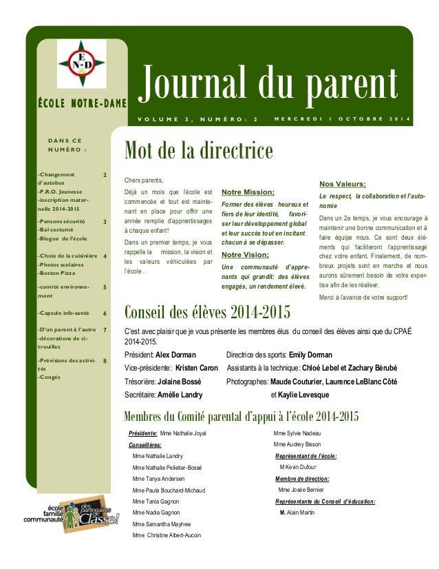 ÉÉÉÉ CCCC OOOO LLLL EEEE NNNN OOOOTTTT RRRR EEEE -- DDDDAAAAMMMMEEEE Journal du parent  V O L U M E 3 , N U M É R O : 2 M ...