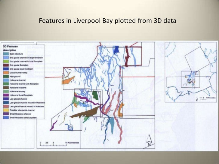 Features in Liverpool Bay plotted from 3D data