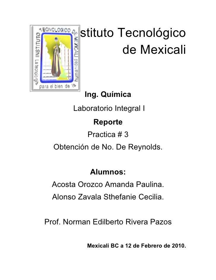 Instituto Tecnológico                  de Mexicali              Ing. Química         Laboratorio Integral I               ...
