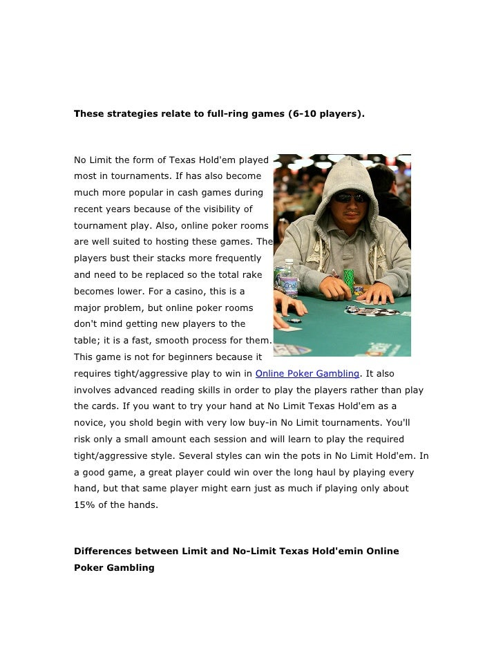 T These strategies relate to full-ring games (6-10 players).     No Limit the form of Texas Hold'em played most in tournam...