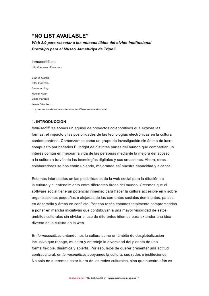 """""""NO LIST AVAILABLE"""" Web 2.0 para rescatar a los museos libios del olvido institucional Prototipo para el Museo Jamahiriya ..."""