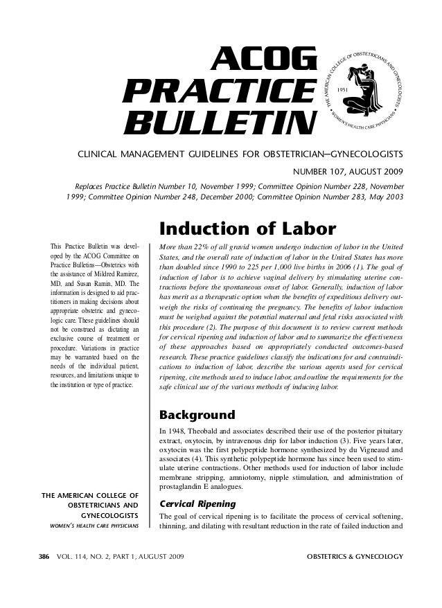 ACOG PRACTICE BULLETIN CLINICAL MANAGEMENT GUIDELINES FOR OBSTETRICIAN–GYNECOLOGISTS NUMBER 107, AUGUST 2009 Replaces Prac...
