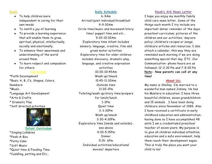 Noah S Ark Quality Child Care Brochure