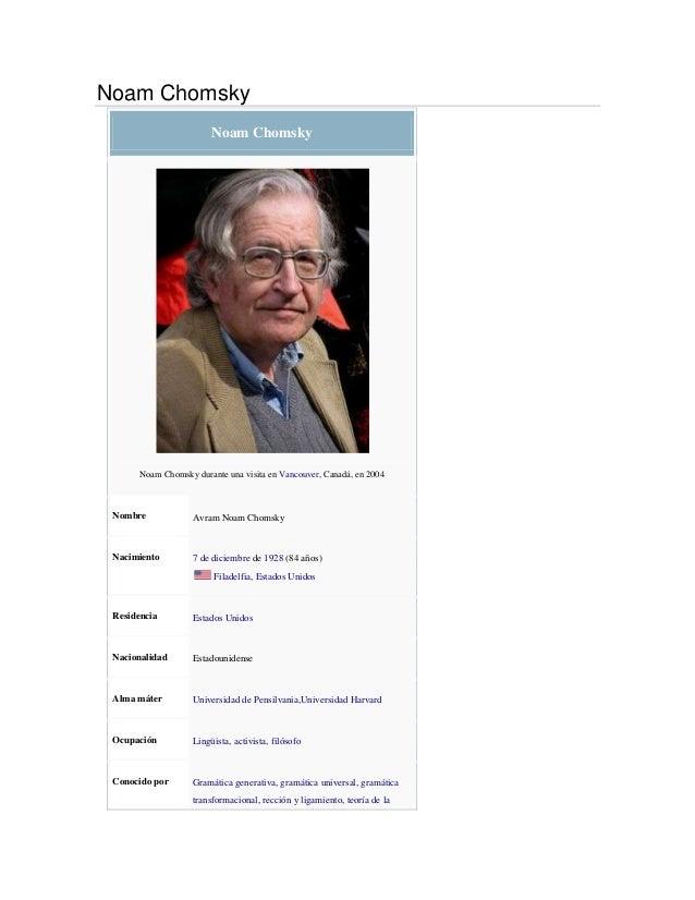 Noam ChomskyNoam ChomskyNoam Chomsky durante una visita en Vancouver, Canadá, en 2004Nombre Avram Noam ChomskyNacimiento 7...