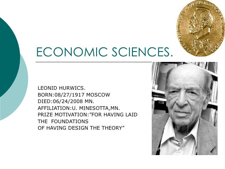 NOBEL PRIZE - ECONOMIC SCIENCES  (Part 2)