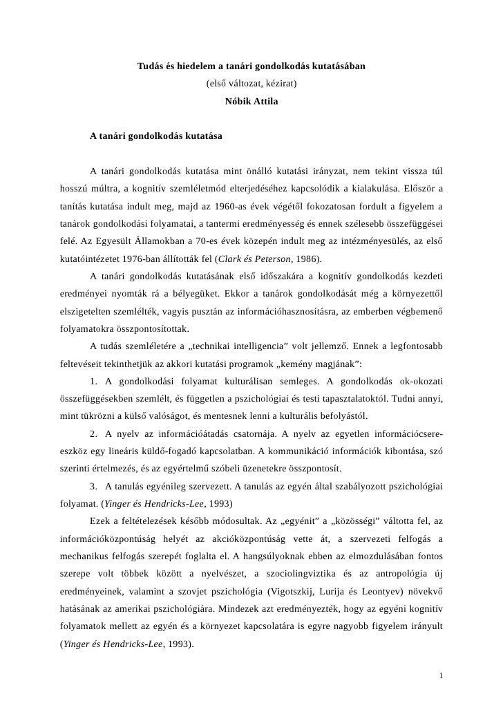 Nóbik Attila: Tudás és hiedelem a tanári gondolkodás kutatásában