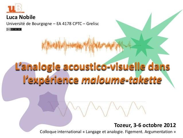 Luca NobileUniversité de Bourgogne – EA 4178 CPTC – Grelisc    L'analogie acoustico-visuelle dans      l'expérience maloum...