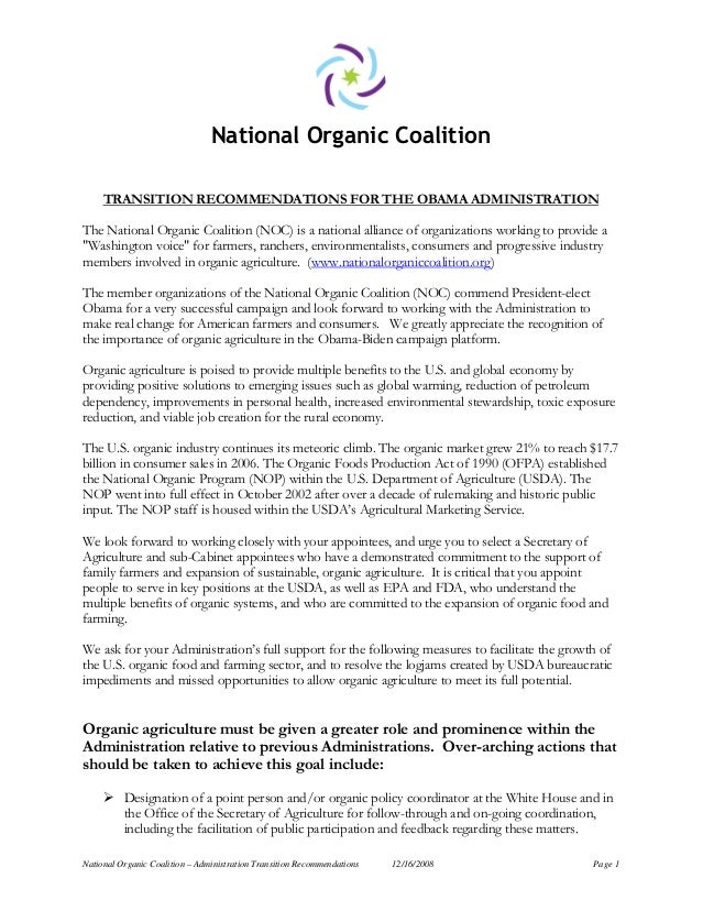 National Organic Coalition – Administration Transition Recommendations 12/16/2008 Page 1