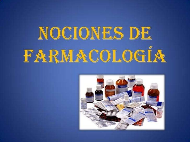 Nociones de farmacología