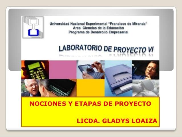 NOCIONES Y ETAPAS DE PROYECTO LICDA. GLADYS LOAIZA