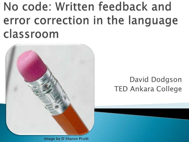No code   written feedback & error correction in the language classroom