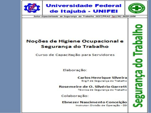 Universidade Federal de Itajubá UNIFEI  NOÇÕES BÁSICAS SOBRE HIGIENE OCUPACIONAL E SEGURANÇA DO TRABALHO