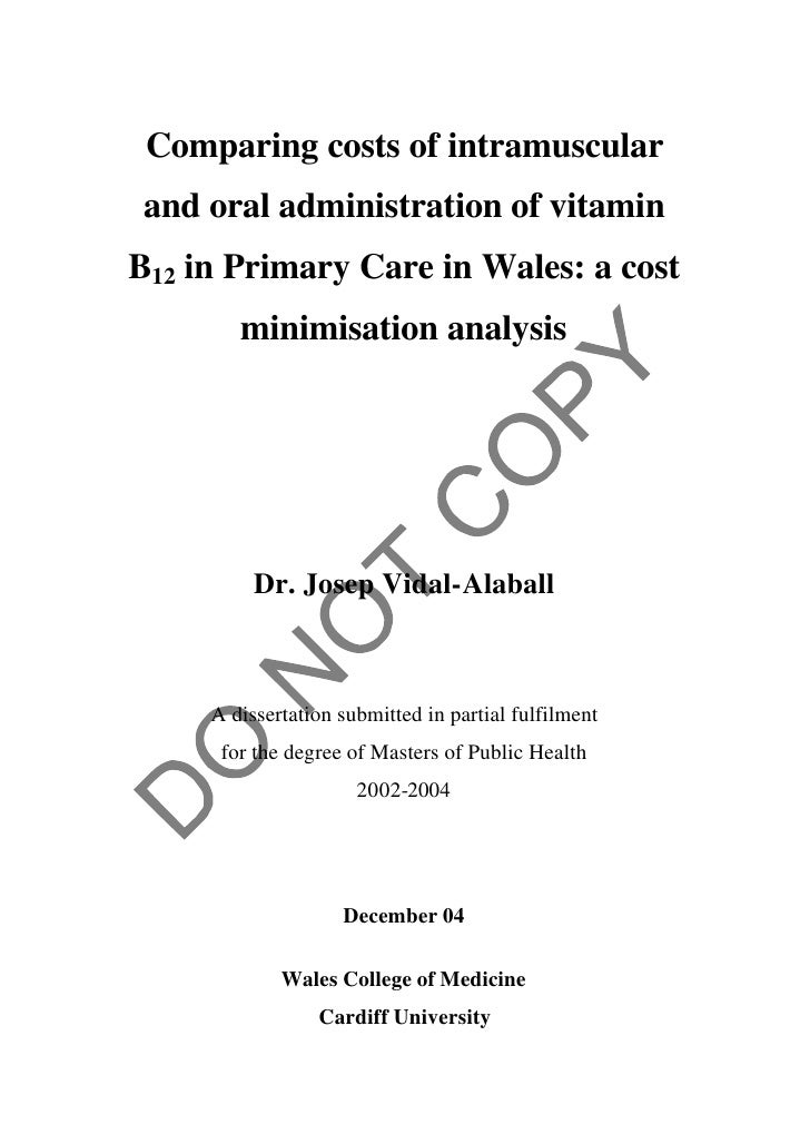 Comparing costs of intramuscular and oral administration of vitamin B12 in Primary Care in Wales: a cost minimisation analysis