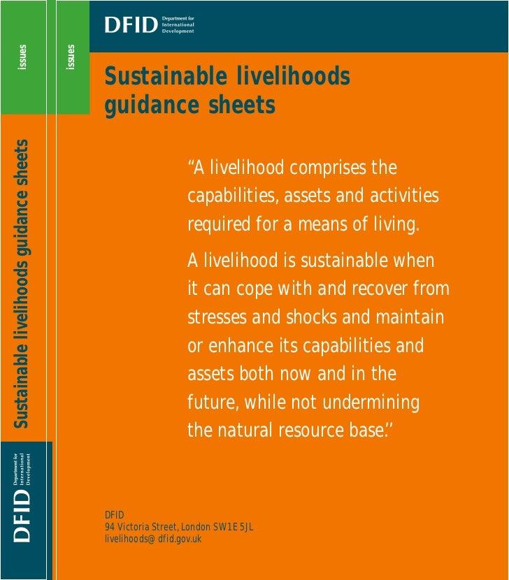 Sustainable Livelihoods Guidance Sheets