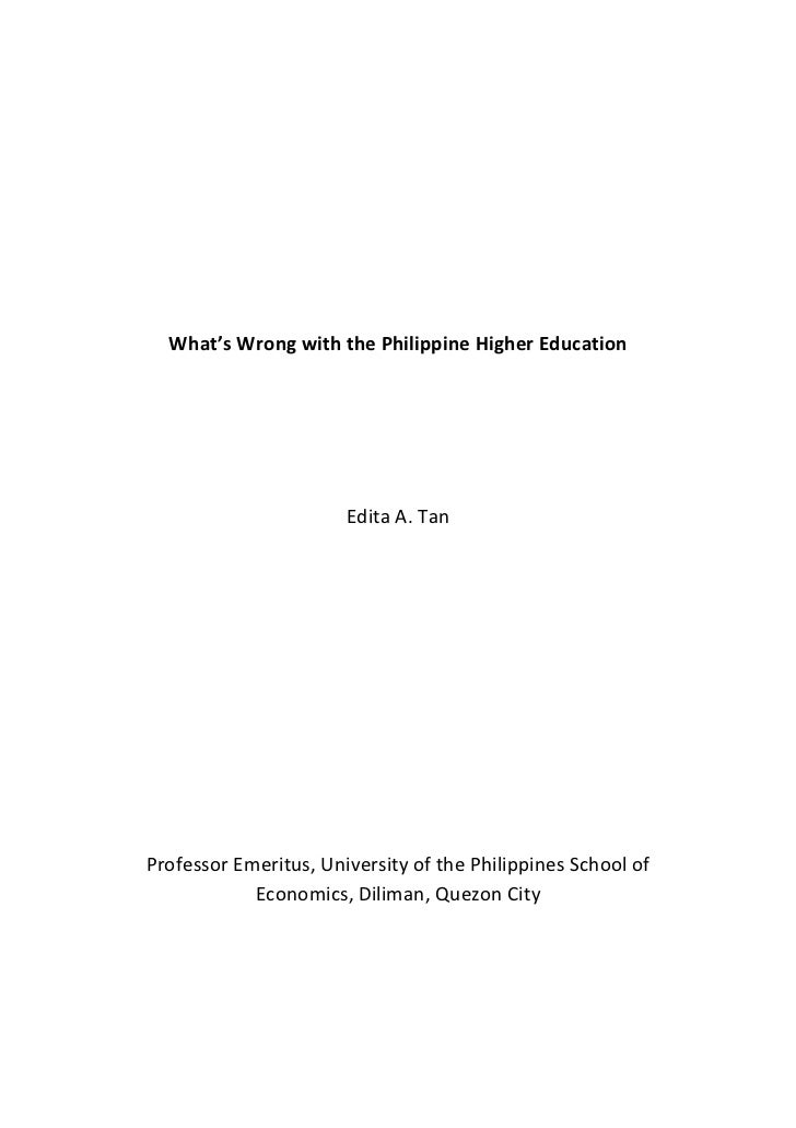 what's wrong with the philippine higher education