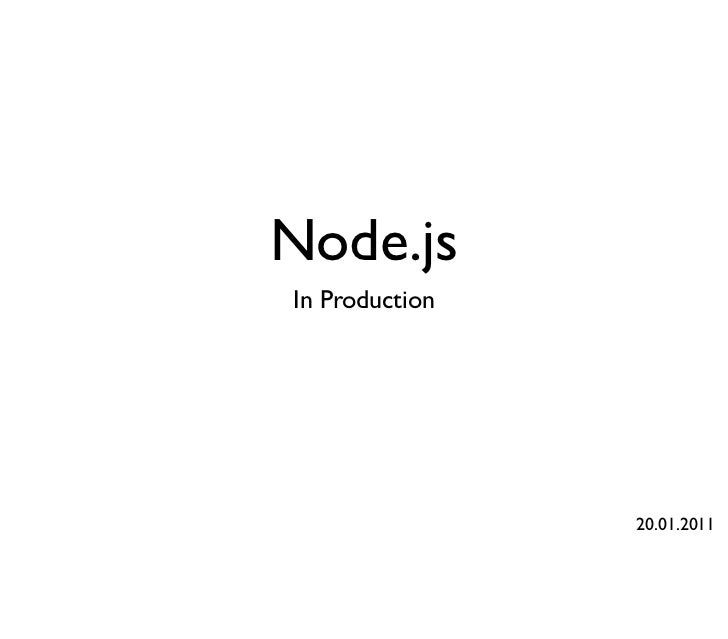 Node.js in production
