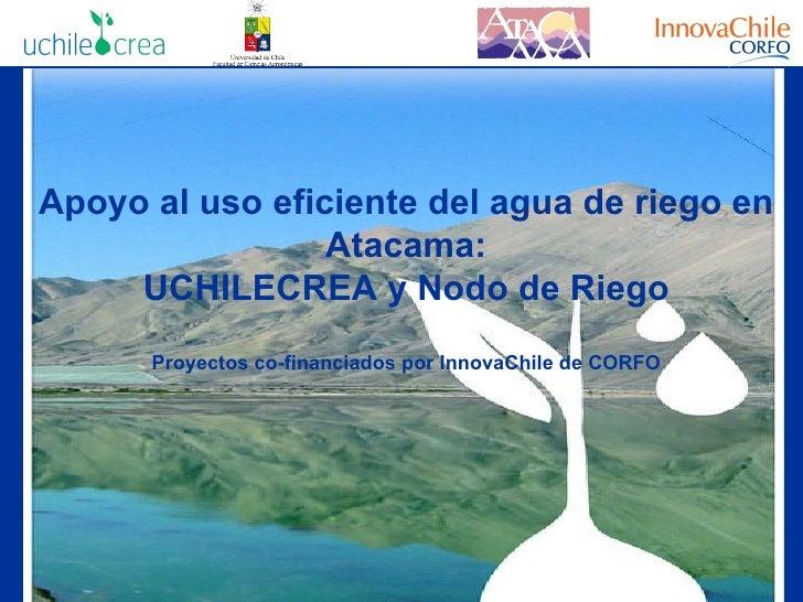 Apoyo al uso eficiente del agua de riego en Atacama: UCHILECREA y Nodo de Riego Proyectos co-financiados por InnovaChile d...