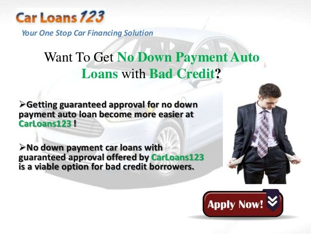 No Down Payment Auto Loans With Bad Credit