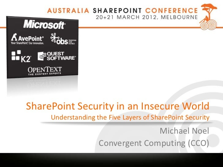 SharePoint Security in an Insecure World     Understanding the Five Layers of SharePoint Security                         ...