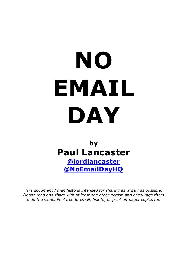NO EMAIL DAY by Paul Lancaster