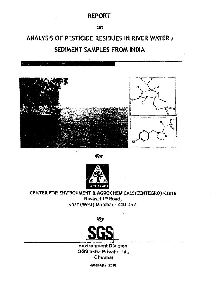 No endosulfan residues in rivers of india  report