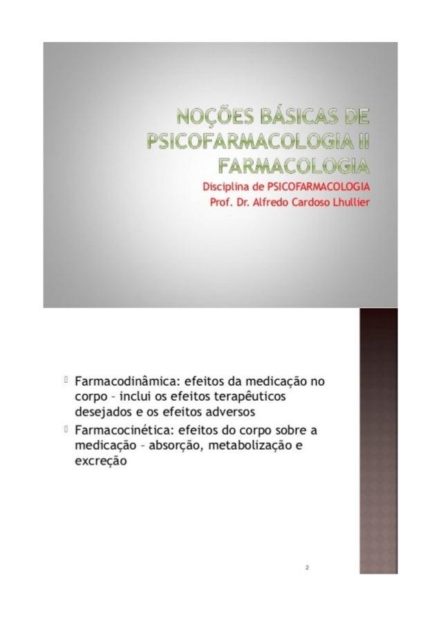 Noções basicas de psicofarmacologia