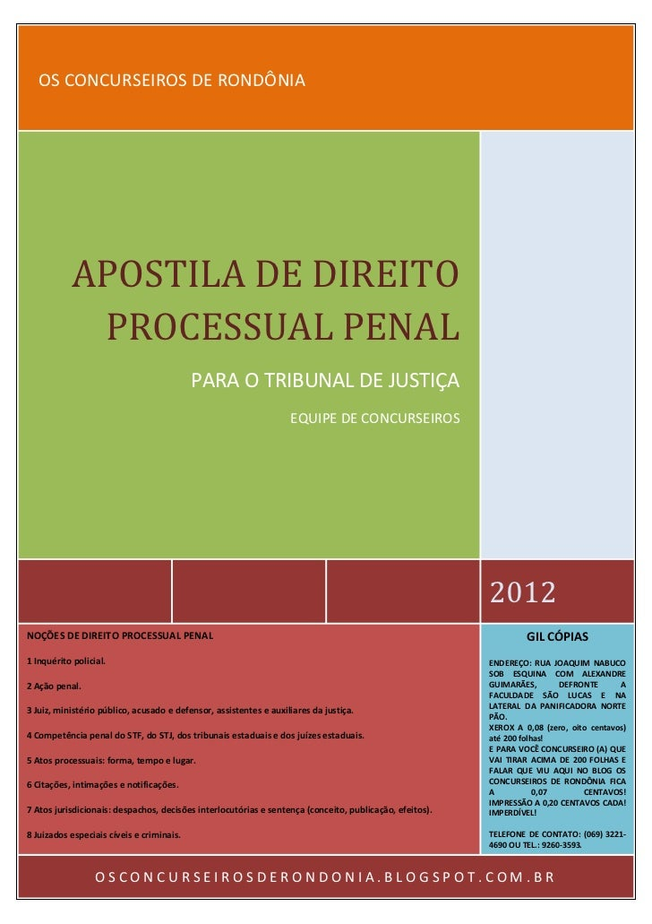 TRIBUNAL DE JUSTIÇA   OS CONCURSEIROS DE RONDÔNIA           APOSTILA DE DIREITO            PROCESSUAL PENAL               ...