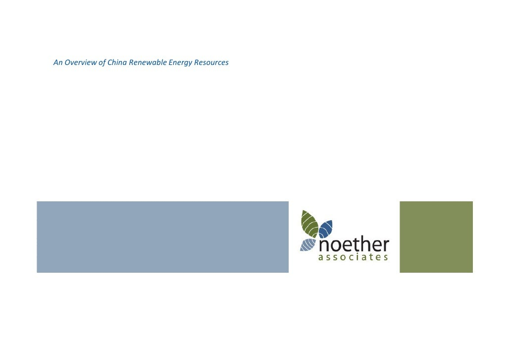 Noether Associates--China Renewable Energy Resources