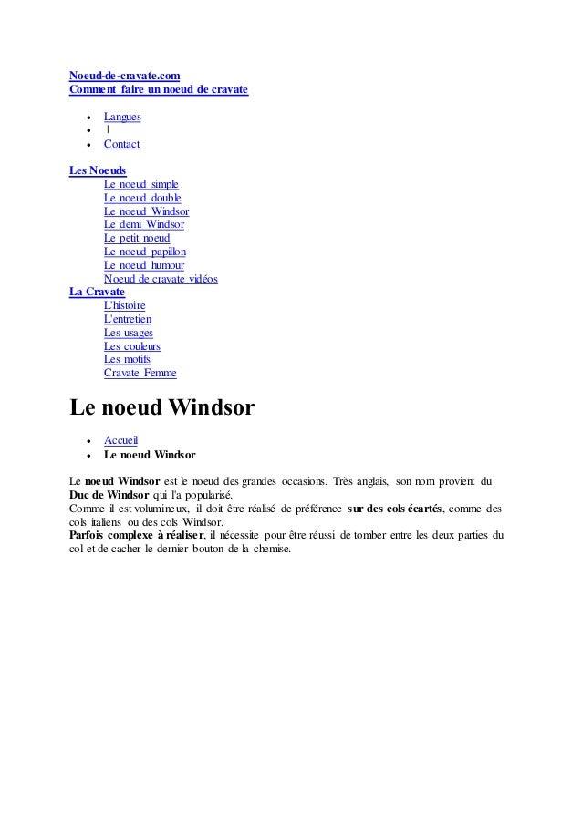 Noeud-de-cravate.com Comment faire un noeud de cravate  Langues  |  Contact Les Noeuds Le noeud simple Le noeud double ...