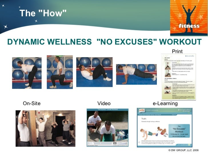 """The """"How""""DYNAMIC WELLNESS """"NO EXCUSES"""" WORKOUT                                   Print  On-Site        Video     e-Learnin..."""