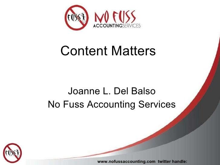 Social Media: Content Matters
