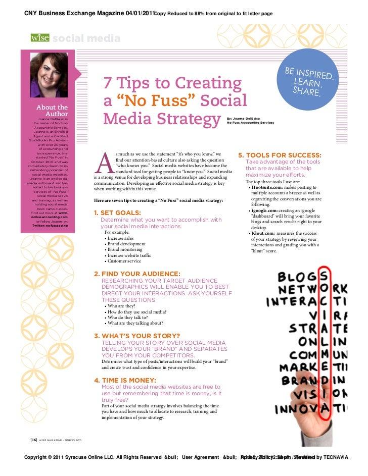 "7 Tips to Creating a ""No Fuss"" Social Media Strategy"