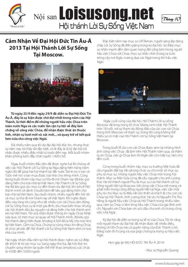 Nội san  Loisusong.net  Hội thánh Lời Sự Sống Việt Nam  Cảm Nhận Về Đại Hội Đức Tin Âu-Á 2013 Tại Hội Thánh Lời Sự Sống Tạ...